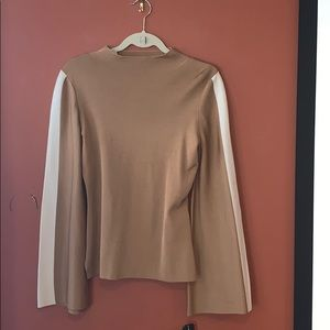 NWT INC tan and cream long sleeve top size Small